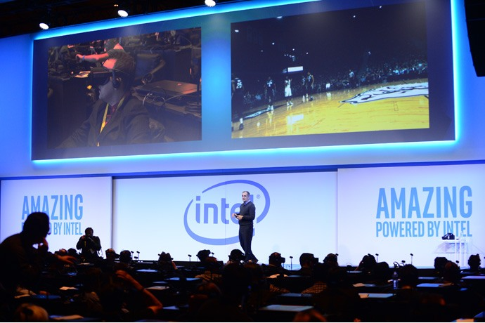 As audience members watch the Villanova-Butler NCAA basketball game on virtual reality headsets, Brian Krzanich, Intel chief executive officers, speaks at a company news conference on Wednesday, Jan. 4, 2017, in Las Vegas. Intel Corporation presents new technology at the 2017 International Consumer Electronics Show. The event runs from Jan. 5 to Jan. 8, 2017, in Las Vegas. (CREDIT: Walden Kirsch/Intel Corporation)